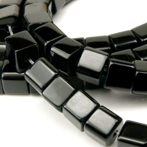 Onyx Halbedelstein Strang Schwarz Perlen Poliert und Matt Set Halbedelstein Strang 4/6/8/10 mm Perlenstrang Perlenkette (8mm x 8mm Würfel Poliert)
