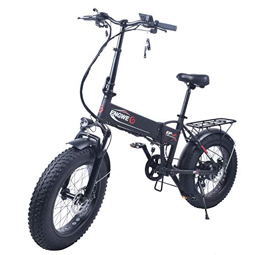 ENGWE EP-2 Outlaw Fat Tire Electric Bike - Foldable Off-Road Fat eBike 20-inch Wheels with Power Assist, Freehub and 6-Speed Gear Shifts (Black)