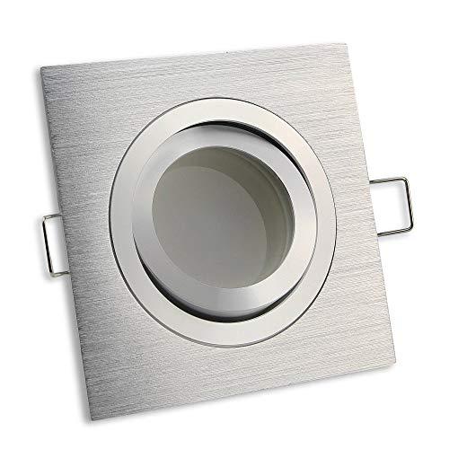 LED Einbaustrahler eckig Edelstahl gebürstet 5 Watt warmweiß 12V – MR16 Einbau-Leuchte schwenkbar 86-90mm Bohrloch aus Aluminium – Spot Decken-Strahler Einbauleuchte Deckenleuchte