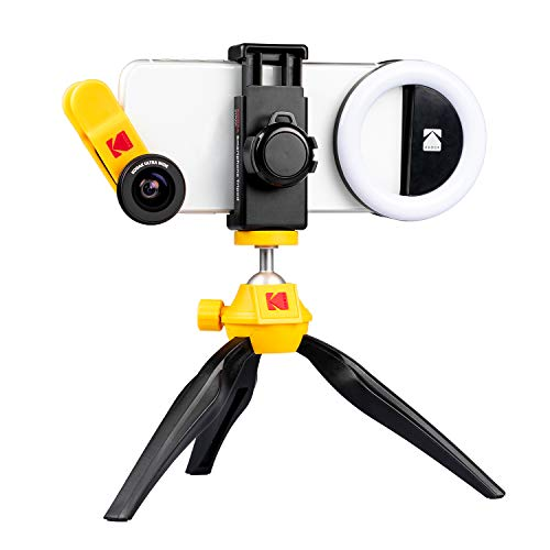 KODAK Smartphone Photography Kit consisting of a 100° Wide-Angle and 15x Macro Lens, a Tripod, a Light Ring for Portraits, and a Protective Travel case - KPK001
