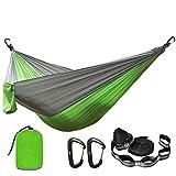 FENGSZ Hamaca de paracaídas de Camping con Correas de Hamaca y mosquetón de Aluminio de 260 cm * 140 cm, con 500 Libras, para Exteriores, Patio, Verde y Gris