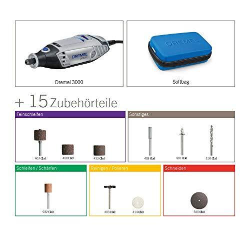 Dremel F0133000JA Multifunktionswerkzeug 3000-15 (15tlg. Zubehör Set, Softbag, 130 Watt) - 2