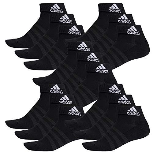adidas 15 Paar Performance Sneaker/Quarter Socken Unisex Kurzsocke, Farbe:Black, Socken und Strümpfe:46-48