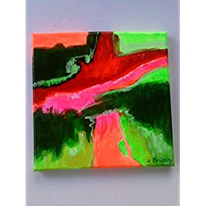 """Red Flow"" abstrakt, Acryl auf Leinwand, 20x 20 cm, Original,neu,"