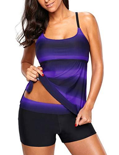 Bsubseach Mujer Rayas Púrpuras Traje de Baño Tankini 2 Piezas Bañador 3XL