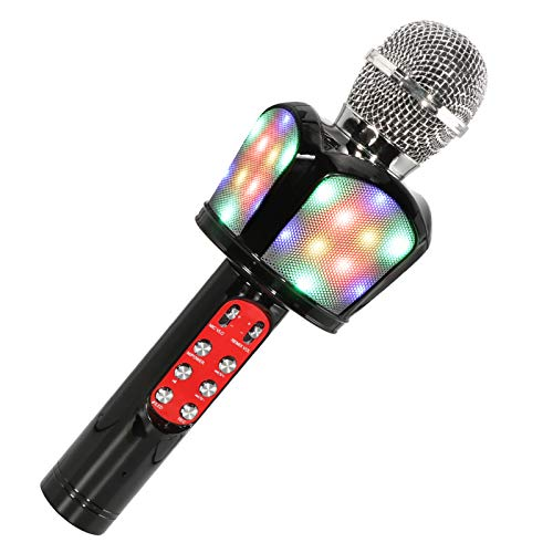 DreMir Wireless bluetooth karaoke microphone,4 in 1 portable handheld karaoke microphone bluetooth speaker with Controllable LED Lights,Compatible with Android/iOS Devices