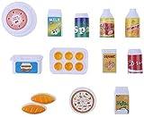 ARTOCT Juego de 12 piezas de vajilla con juego de simulación de alimentos falsos utensilios de cocina, juguetes de casa de muñecas, accesorios de cocina en miniatura para niños
