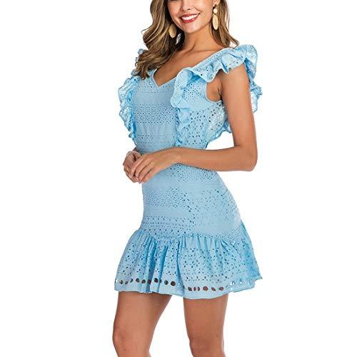 QYYdress Vestido de la Manera V-Cuello a Cielo Abierto del oído de Madera Vestido sin Mangas (Color: Blanco Tamaño: S) (Color : Baby Blue, Size : One Size)