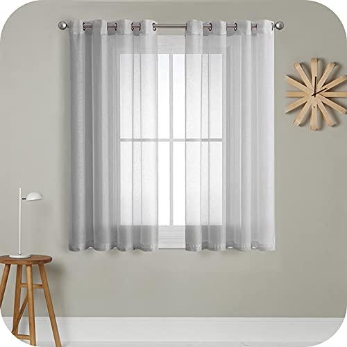 MRTREES Cortina para Ventana Dormitorio Translúcidas Visillos Paneles para Ventanas Sala para Niños Sala Comedor 2 Piezas 140×160cm Gris
