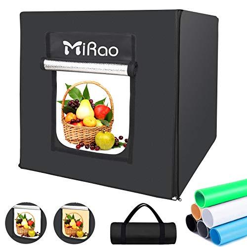 【2021年最新版-革新の2色】Mirao 撮影ボックス 60cm 暖光・白光 3200K~5800K 調光可能 224個LED 超高輝度ライト付き 電源アダプタ付き 携帯便利&組立簡単&収納便利 撮影用簡易スタジオ