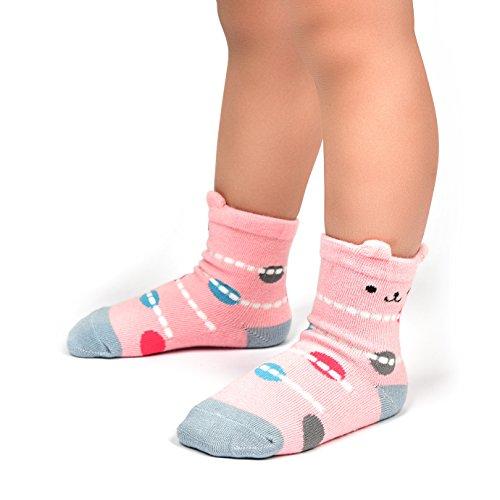Wobon Toddler Girl Non Skid Socks Cute Cotton with Grips, Baby Girls Anti-skid Socks , 1-3 Years, 12 Pairs