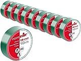 Poppstar - 10x 10m Cinta aislante universal (cinta de sellado de PVC - cinta adhesiva), para aislamiento - reparación de conductores eléctricos (18mm ancho), verde