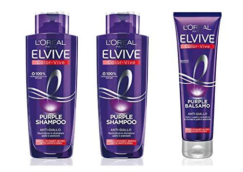 L'Oréal Paris Color Vive Purple Shampoo Anti-Giallo per Capelli Schiariti, Biondi, Decolorati e Grigi, 2 x 200 ml + Balsamo per Capelli Schiariti, Biondi, Decolorati e Grigi, 1 x 150 ml