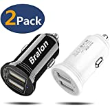 USB Car Charger,Bralon 2-Pack Smart Dual Ports Car Charger with 18W/3.4A Output Flush Compatible with iPhone 11/11 Pro(Max)/Xs(Max)/Xr/X/8/7/6,iPad Pro/Mini,Galaxy Note 10 9 8 7,HTC,LG,Moto and More