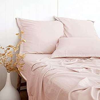 PANDATEX Ultra Comfortable Linen Textured 55% Bamboo 45% Cotton Sheets Set Pink Full Size Cool & Moisture Wicking Breathable & Durable Naturally Organic Fit Mattress 16  Deep Pocket