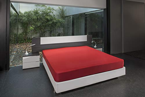 B.sensible BSensible Tencel-Spannbettlaken, wasserdicht und atmungsaktiv Betten mit Gelenkkopf 70+70 X 200 rot