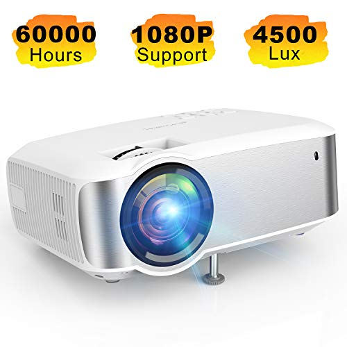 Projector TOPVISION 1080P Supported Video Projector with 4500L 60000 Hrs Home Projector for Indoor/Outdoor with Speakers Compatible with Fire TV Stick PS4 HDMI VGA AV USB
