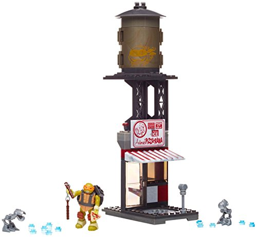 Mega Bloks - Combate en la Pizzeria vehículos de Carreras, Tortugas Ninja, Juego de construcción (Mattel DMX51)