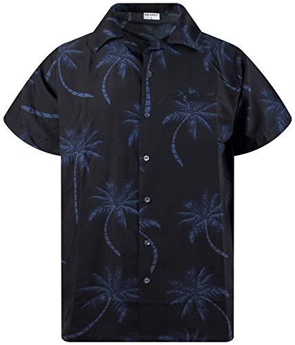 King Kameha Funky Hawaiihemd, Kurzarm, Palmshadow New, Schwarz, XL