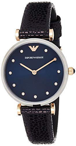 Emporio Armani Damen Analog Quarz Uhr mit Leder Armband AR1989