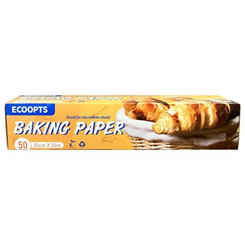 ECOOPTS 30CM×50M Papel Horneado pergamino antiadherente precortado papel para hornear galletas, cocinar, asar a la parrilla, horn