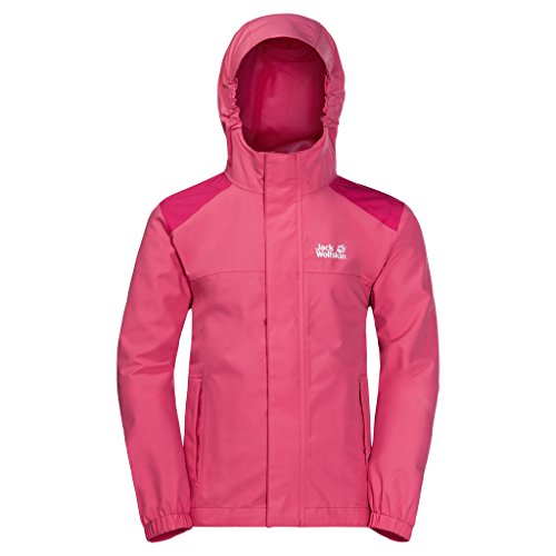 Jack Wolfskin Kinder Oak Creek Jacket Atmungsaktiv Wasserdicht Winddicht Reflektoren Outdoor Wetterschutz, Regenjacke Wetterschutzjacke, hot pink, 176