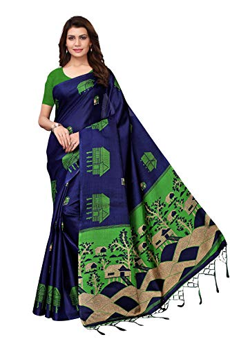 TreegoArt Fashion Sari étnico tradicional de seda Kalmakari para mujer con blusa sin costuras Peace -(FARM HOUSE NAVY)