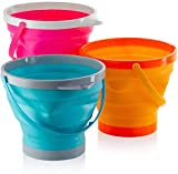 Top Race Foldable 10 Inch Pail Buckets Silicone Collapsible Buckets Multi Purpose 5 Liter, 1.5 Gallons (Pack of 3)