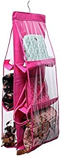 Divinezon Hanging Handbags Transparent Organizer Bag, Closet Tidy Closet Organizer, Wardrobe Rack Hangers Holder