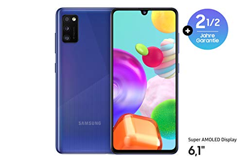 Samsung Galaxy A41 Android Smartphone ohne Vertrag, 3 Kameras, 6,1 Zoll Super AMOLED Display, 64 GB/4 GB RAM, Dual SIM, Handy in blau, deutsche Version