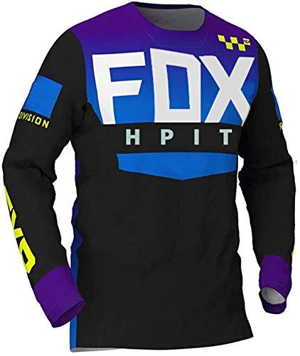 Ropa de Ciclismo de Carretera para Hombres, MTB Jersey Fox para Hombre, Camisetas de Descenso para Hombres Hpit Fox Mountain Bike MTB Shirts Offroad DH Motorcycle Jersey Motocross Sportwear S