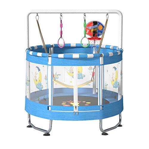 Trampolín Casero Cama Inflable Interior para Niños Trampolín De Fitness Trampolín con Red De Protección Juguete Familiar Saltando De La Cama Trampolín (Color : Blue, Size : 150 * 150 * 180cm)