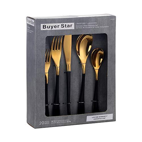 YDware - Juego de cubiertos de acero inoxidable con mango negro, 20 piezas, juego de cubiertos de acero inoxidable para 4, vajilla con caja de regalo, acabado espejo y apto para lavavajillas