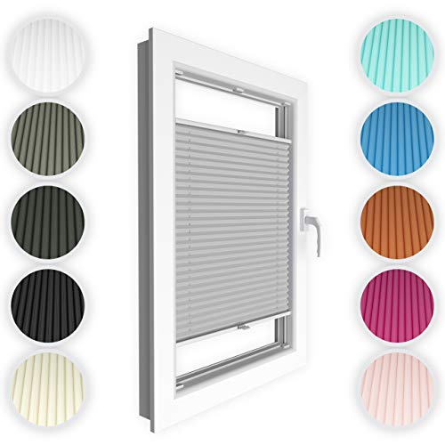 4dekor Plissee nach maß, Plissee mit bohre, Breite 30-130 cm, Höhe 50-150 cm, 18 Farben, Schalosien Fenster innen, Faltrollos für Fenster Sicht- und Sonnenschutz, Rollo für Fenster mit Bohren