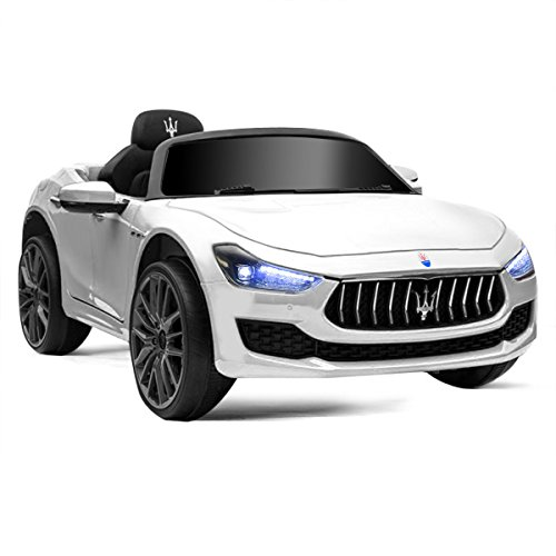 HONEY JOY Ride on Car, Licensed Maserati Gbili 12V Battery Powered Electric Car for Kids with 2 Motors, Remote Control, LED Lights, MP3, Horn, Music, Wheel Suspension, 2 Lockable Doors (White)
