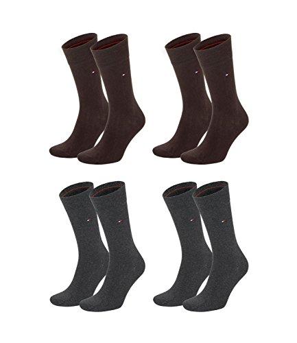Tommy Hilfiger Lot de 4 paires de chaussettes pour homme, Homme, 371111, Marron (937)/anthracite mélangé (2 (030), 39-42