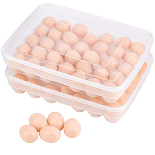 Toplife 2 Stück Eier Behälter, KühlSchrank Eier Behälter mit Deckel, Eierbehälter aus Kunststoff, Tragbare Ei Aufbewahrungsbox, Stapelbar Ei Halter, 34 Eier