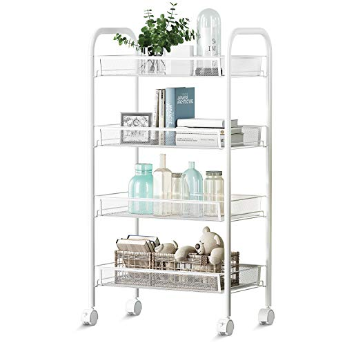 4-Tier Kitchen Carts on Wheels   Bathroom Shelving   Kitchen Island Utility Cart   Metal Mesh Rolling Cart   Storage Cart with Lockable Wheels and Removable Hook for Office, Kitchen, Bathroom, Bedroom