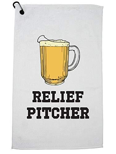 Hollywood Thread Baseball Relief Pitcher met Bier Alcohol Grafisch Ontwerp Golf Handdoek met Karabijnhaak Clip