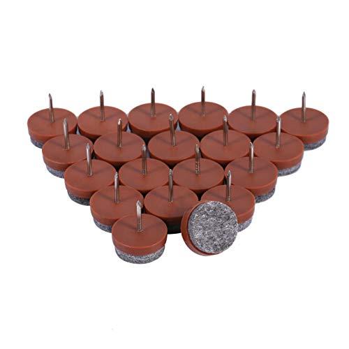 Omabeta 20 Piezas/Juego de 20 mm, Almohadilla para uñas de Fieltro para Piso de Muebles, Protector de Fieltro para Patas de Mesa(marrón)