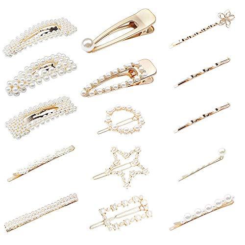 YADOCA 15 Pcs Perle Haarspange Damen Perle Haarspange Haarnadeln Haar Klammer Haarklammern Haar Haarspangen Zubehör für Hochzeit