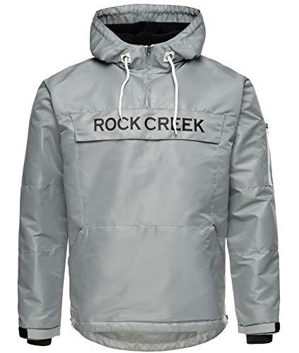 Rock Creek Herren Windbreaker Jacke Übergangsjacke Anorak Schlupfjacke Kapuze Regenjacke Winterjacke Herrenjacke Jacket H-167 Grau 3XL