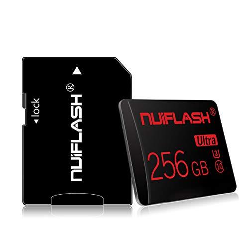 nuiflash Tarjeta de memoria micro SD de 256 GB con adaptador SD (velocidad rápida clase 10), tarjeta de memoria TF para cámara, teléfono móvil, tableta, consola de juegos, cámara de salpicadero