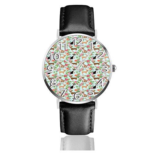 Watches Reloj de Pulsera Analógico Monoaguja de Cuarzo para Hombre Reloj para Hombre de Cuarzo Baliboon Corgi Butt Dog con Correa en Cuero