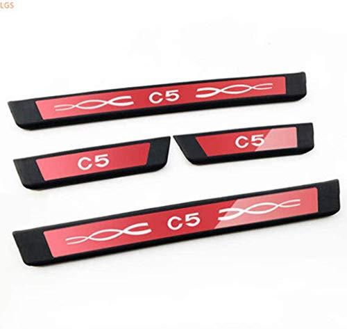 Pliers 4 stücke für Citroen c5 2010-2016 Edelstahl Auto türschliff abreißplatte, Protector Kick Pedal schweller bar Trim Dekoration Styling zubehör (Color : Red)