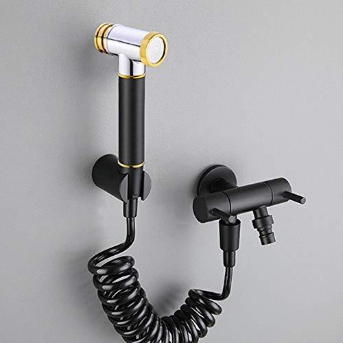 WC bidet Negro y oro de latón individual Baño Ducha fría Blow-Fed pistola de pulverización de la boquilla bidé Grifería de hardware Toque, Estilo 11
