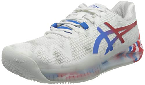 Asics Gel-Resolution 8 Clay L.E, Tennis Shoe Hombre, White/Electric Blue, 44 EU