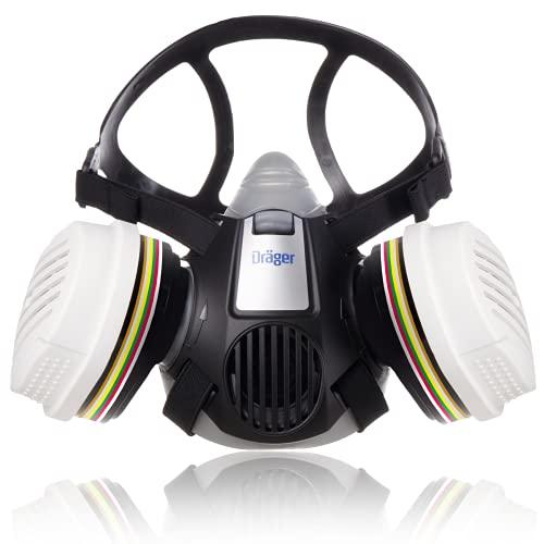Dräger X-Plore 3300 Semi máscara + filtros A1B1E1K1 Hg P3 R D   Respirador de seguridad para trabajos químicos frente a vapores, conservantes, pesticidas   Talla M