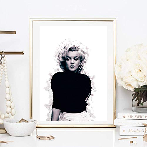 Din A4 Kunstdruck ohne Rahmen - Marilyn Monroe Portrait Foto Fotokunst Hollywood Star Ikone Geschenk Druck Poster Bild