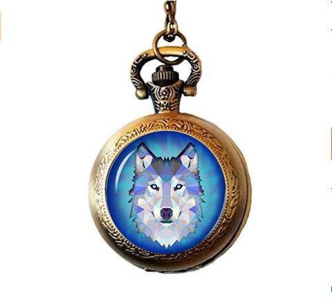 Collar de reloj de bolsillo con colgante de madera de lobo